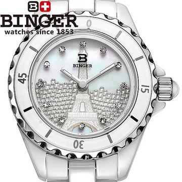 2016 Binger New arrival cz Diamond wristwatch Women Dress Luxury Brand white ceramic shell watch Carving