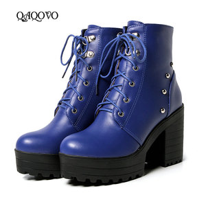 Image 1 - Blue Black Fashion Platform Martin Boots Women Thick High Heels Ankle Boots Lace Up Autumn Winter Woman Shoes White