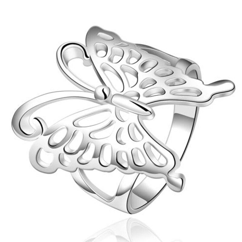 Для женщин Уникальный полые бабочка свадьба современные обещание посеребренные кольцо диапазона
