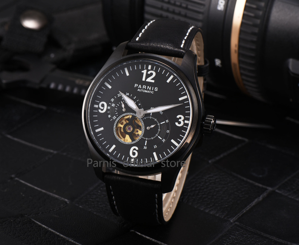 2017 Newly Issue Parnis Watches Men Skeletons Luminous Leather 12/24 - Relojes para hombres - foto 6