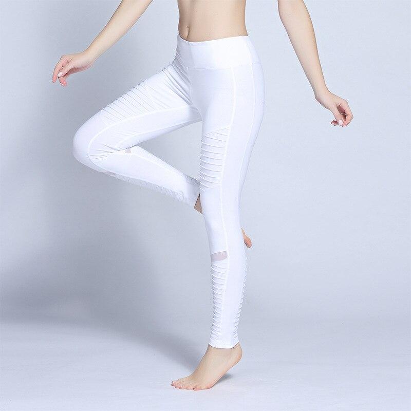 Штаны Для Йоги Новый Для женщин высокой талией Moto спортивные Леггинсы с сетчатыми вставками супер звезда же Стиль спорта activewear