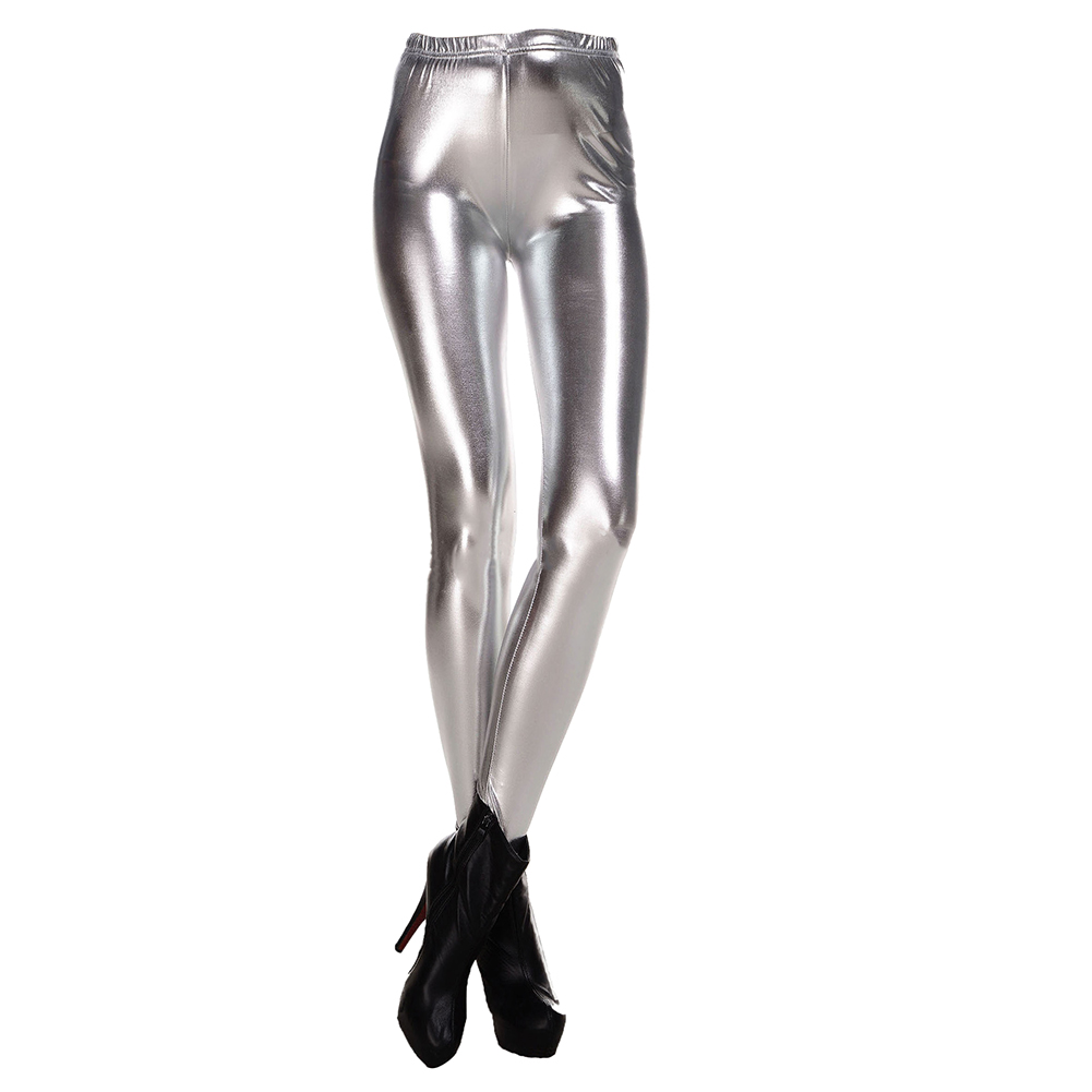 New Fashion Women Leggings Shiny Metallic Color Elastic Waist Skinny Sexy Pencil Pants Trousers Casual Pencil Trousers Silver M
