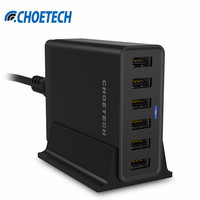 CHOETECH Auto Detect Tech 50W 10A 6 Ports USB Desktop Charging Station Mobile Phone Charger With