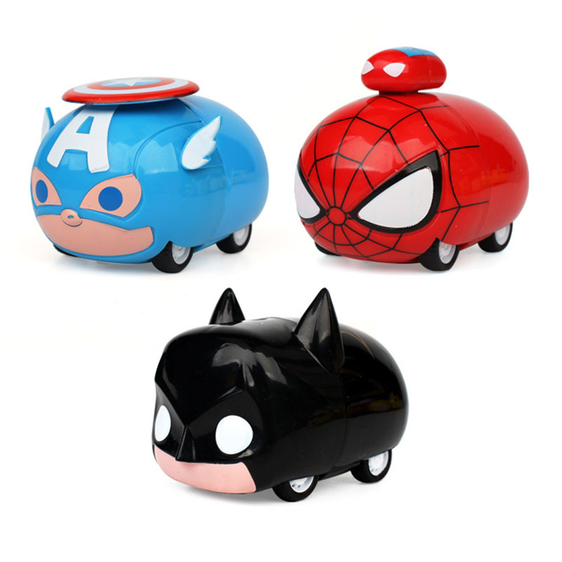 Figures The Avengers Batman Spiderman Captain America Pull Back Die Cast Cars Toys For Kids 2018 New Pullback Car Toys