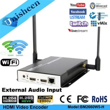 Unisheen H.265 H.264 IPTV Video Encoder HDMI in out youtube facebook wowza ip rtmp live streaming obs vmix wirecast