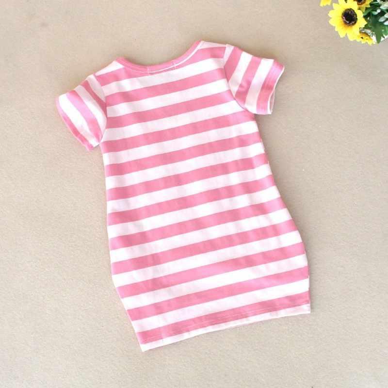 [Malayu 赤ちゃん] 幼児女の子のドレス夏新の服ストライプ漫画刺繍女の子綿 100% の子供たち服