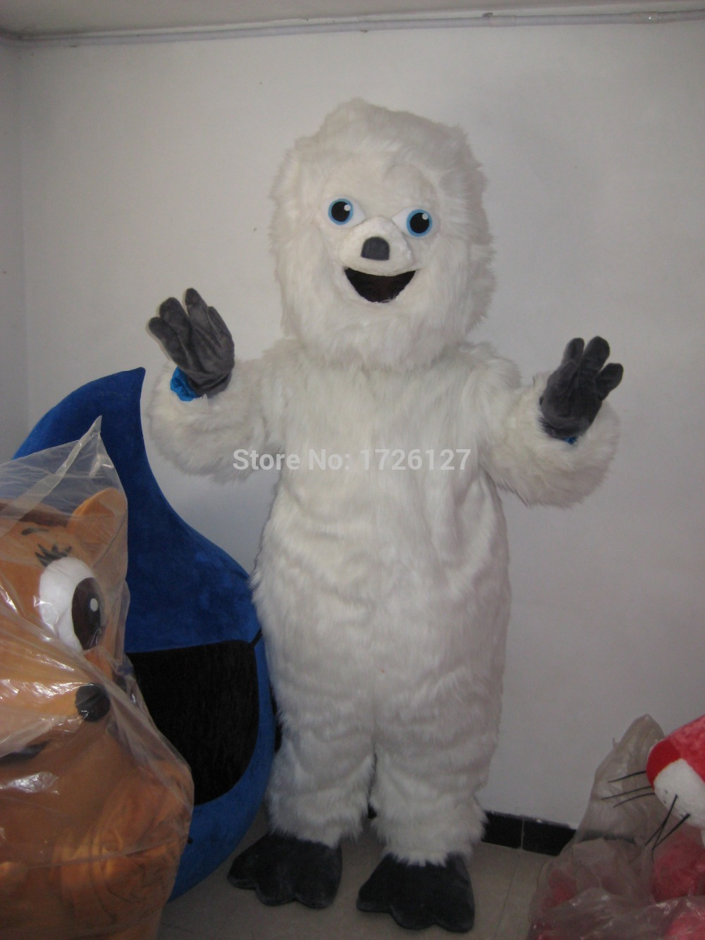 Плюшевый талисман Материал на заказ Белый Снеговик Снежный монстр талисман костюм для взрослых Размер костюм зимний праздник Ледяной Мир