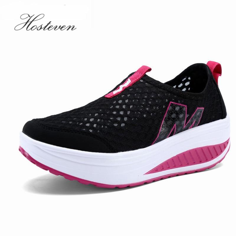 Neue frauen Schuhe Beiläufige Sport Mode Schuhe Fuß Wohnungen Höhe Zunehmende Frauen Müßiggänger Atmungsaktive Air-Mesh Schaukel Keile Schuh