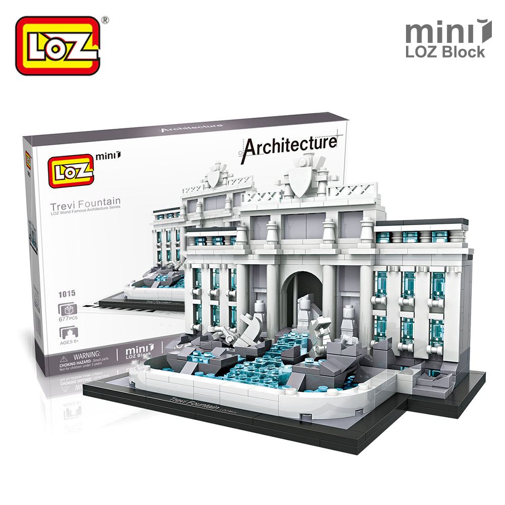 Mr.Froger LOZ Mini Blocks Trevi Fountain World Famous Architecture Toys For Children Models Building Kits Creator Block Brick loz street view architecture building brick 303pcs