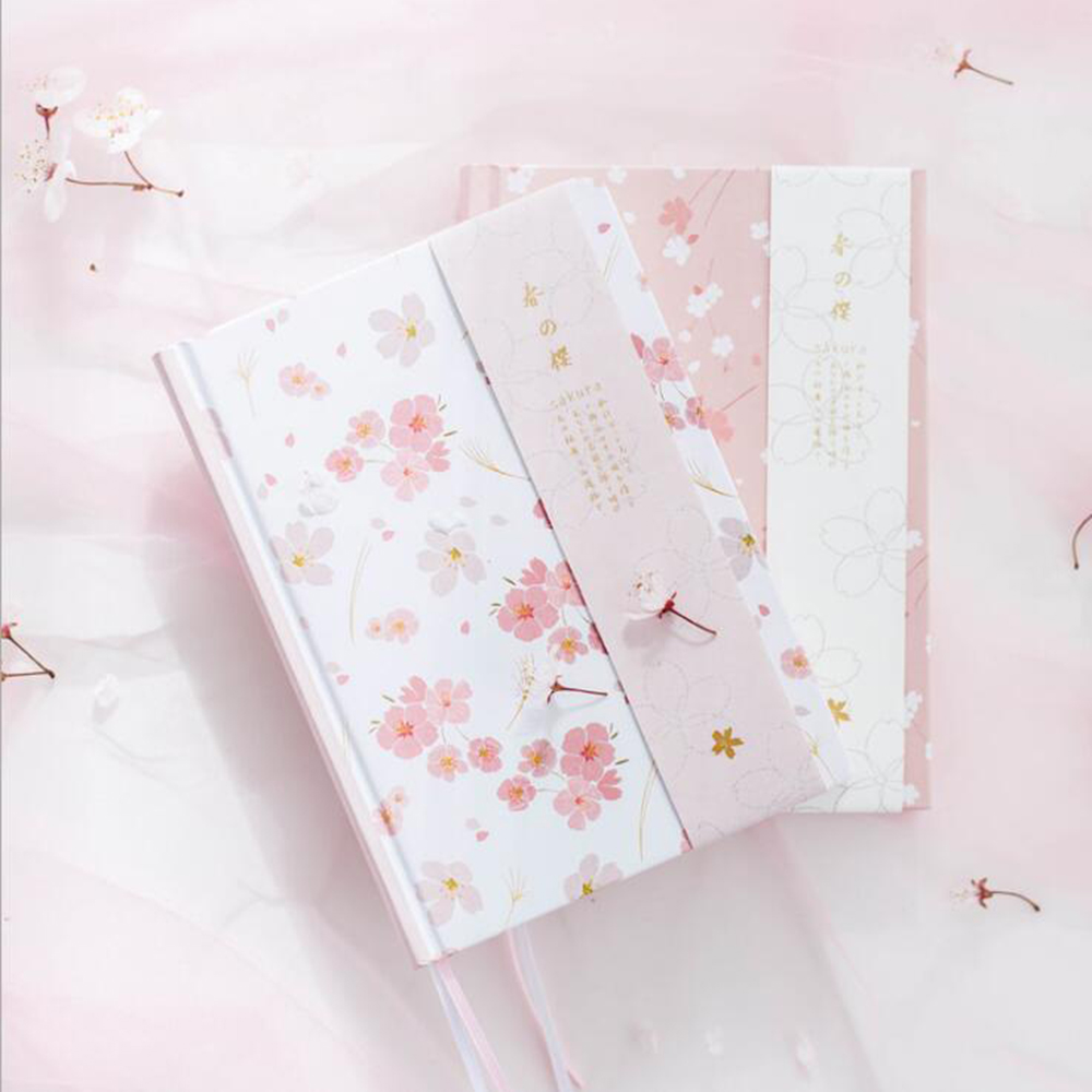 2018 Monthly Plan Bullet Journals Cherry Blossom Hardcover Planner Notebook School Student Daily Schedule Organizer Diary girly notebook stationery suit clips pens daily plan agenda sticky notes great value planner organizer set cute journals series