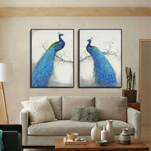 HAOCHU Chinese Style Canvas Decoration Painting Animal Couple Blue Peacock Happiness Life Living Room Mural Wall Art Hone Decor