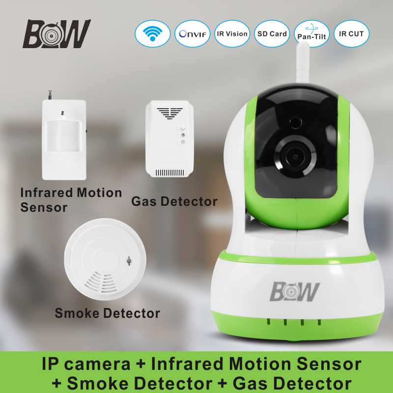Security Wifi Camera Network Wireless + PIR Motion Sensor + Smoke/Gas Detector Home Alarm System Surveillance IP Camera BW13GR wireless security camera wifi motion sensor ip baby monitor door sensor gas detector video surveillance alarm system bw12y