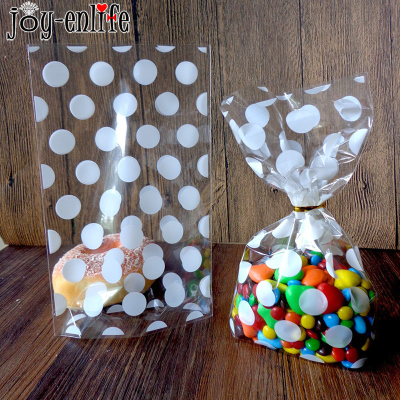 20pcs Christmas Plastic Candy Bags Gift Bag Gold White Polka Dots Transparent Cookies Bag Birthday New Year Party Food Packing