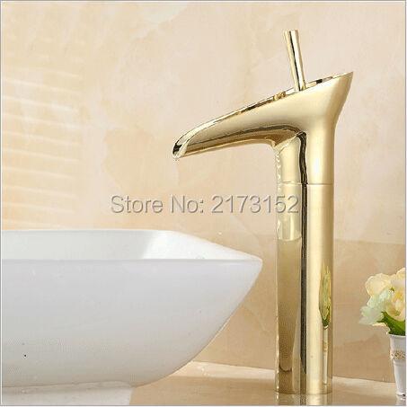 Robinet de cascade de salle de bains plaqué or en forme de verre à vin robinet mitigeur de lavabo à un trou de Style fantaisie G-043