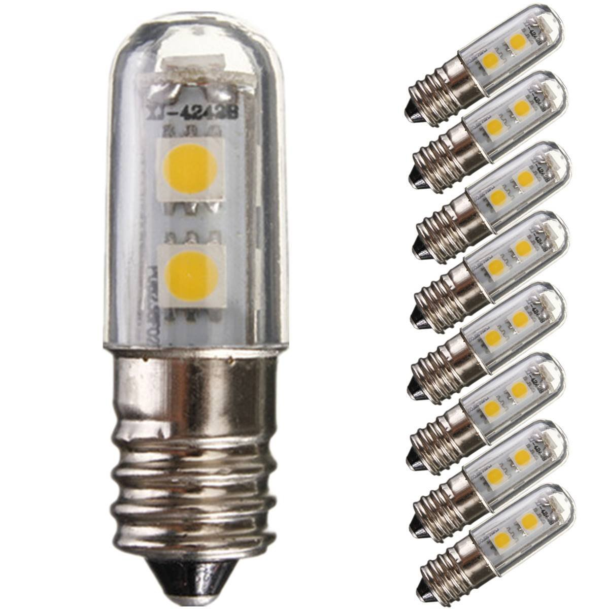 8 Pcs E14 1W Led Refrigerator Bulbs 7 Smd 5050 Warm White Colour 15w Replacement for Halogen bulb 3000K 45LM Energy honsco e10 1w 3000k 70lm 5050 smd led warm white light screw bulb for diy pair 12v