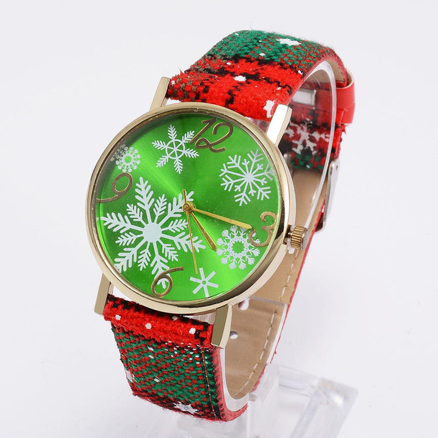 Fashion Women Christmas Dial Leather Watches Ladies Casual Dress Wrist Watches W