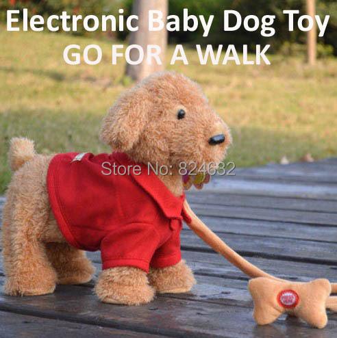 Brinquedo eletrônico passear o cão / música robotic cães de pelúcia / interativo cão robô de brinquedo / brinquedo do bebê tamanho do cão 30 CM frete grátis