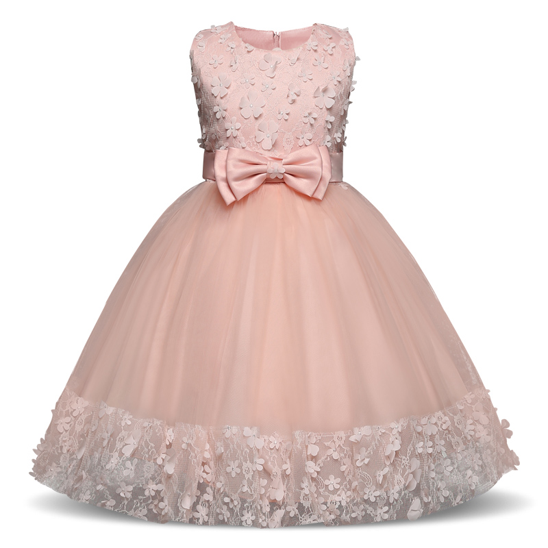 Summer   Flower     Girl     Dresses   2018 Bow Princess Tulle Gowns Evening Pink Appliques Party Evening   Dress   Children Costume 4-10 Years