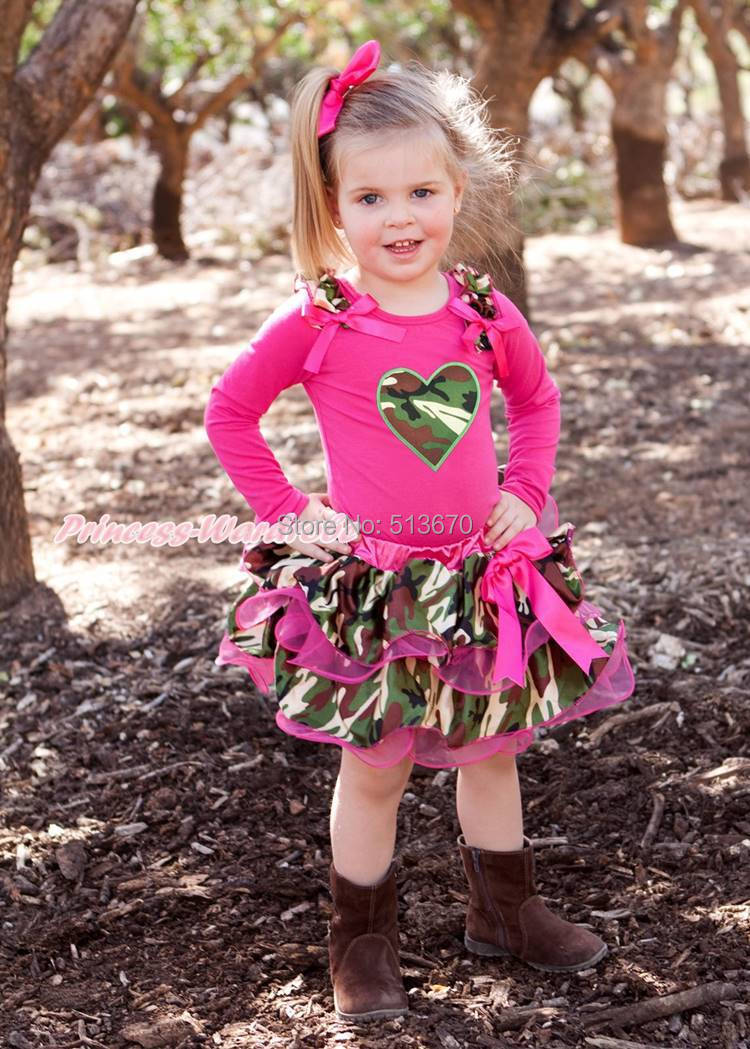 ФОТО Valentine's Day Camouflage Heart Hot Pink Top Petal Skirt Girl Outfit Set NB-8Y MAPSA0266