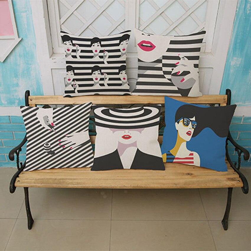 Noir et blanc Pop Art Coussin Belle fille femme Décor À La Maison Canapé Siège De Voiture Décoratif Coussin Taie D'oreiller Capa almofadas