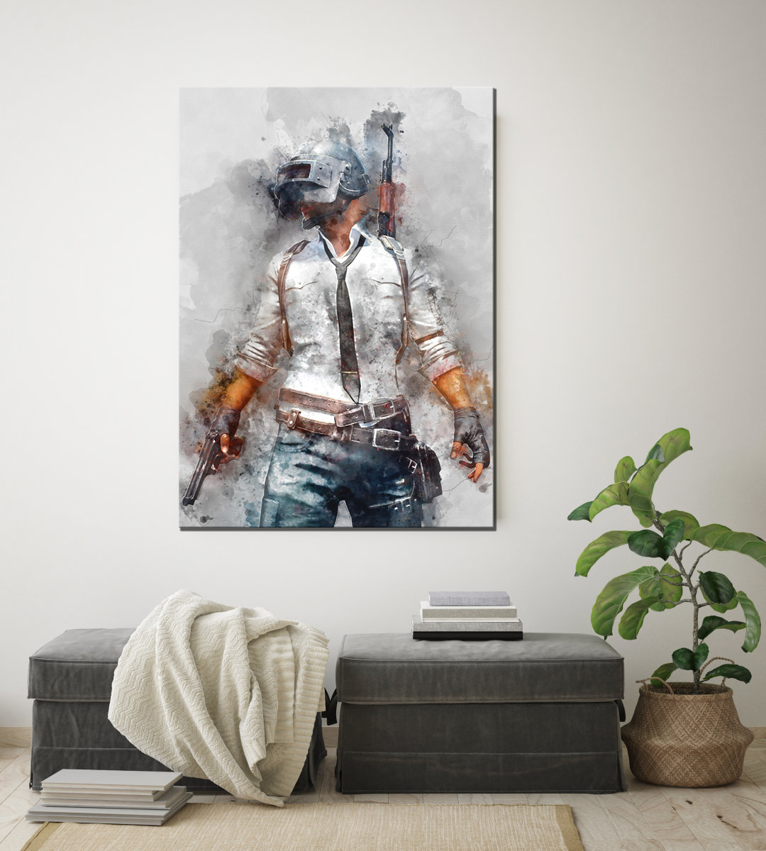 1 Piece PUBG PLAYERUNKNOWNS BATTLEGROUNDS Game Poster Artwork Canvas Painting Wall Art for Home Decor 4