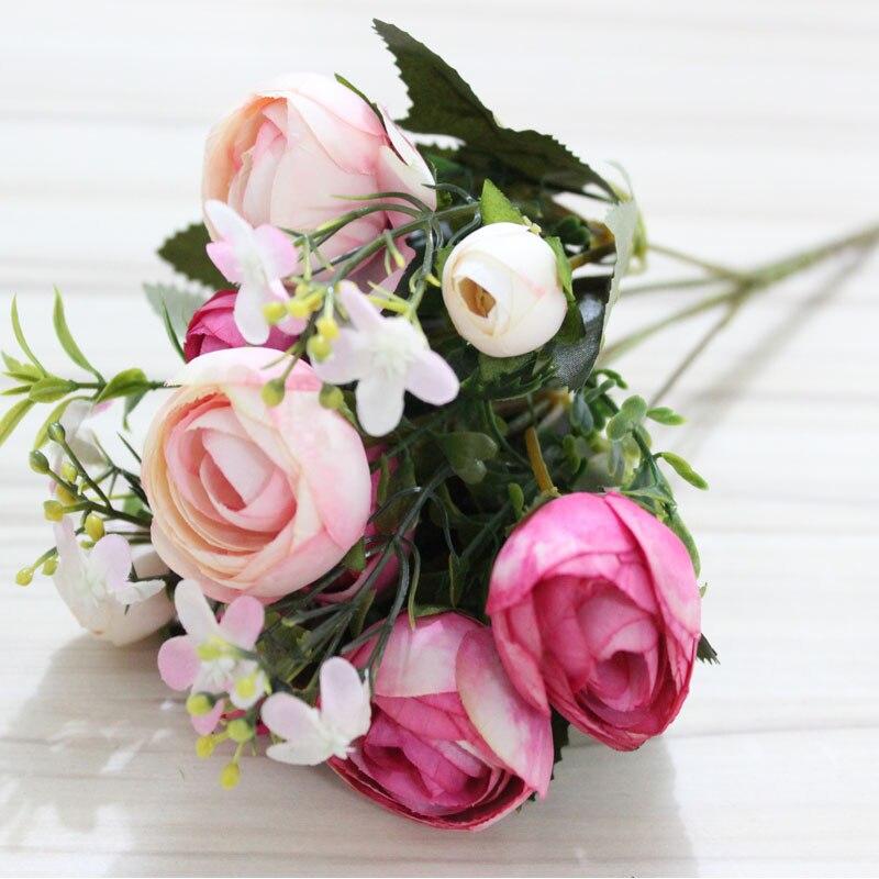 Artificial Flower Small Rose Tea Bud Wedding Flowers Bouquet Home ...