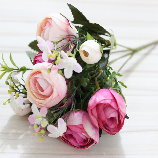 Artificial Flower Small Rose Tea Bud Wedding Flowers