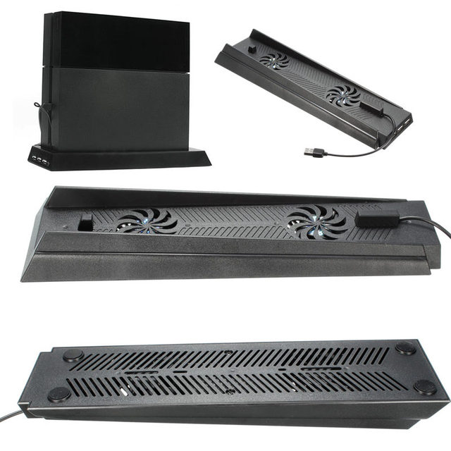 Para PS4 Consola Soporte Vertical Con Soporte de Doble Ventilador de Refrigeración 1 usb 2 hub + para sony para playstation 4 consola de juegos