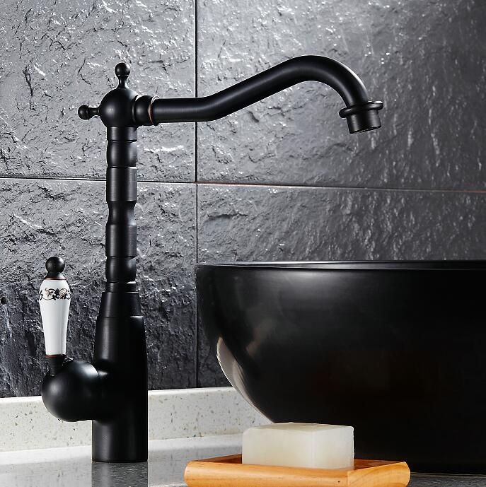 Free Shipping Kitchen Swivel Brass Faucets Mixer Faucet Sink Basin Swivel Tap black Antique Brass H5680