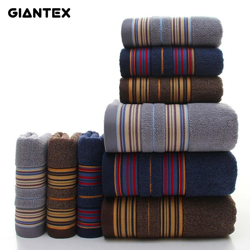 GIANTEX 3-Pièces Épais Bande Motif Doux Coton Serviette Ensemble Salle De Bain Super Absorbant Serviette De Bain Visage Serviettes U1144