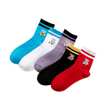 IOLPR 5pcs/lot spring Summer cotton cartoon two bar women socks Korean version cubs Chinese socks manufacturers wholesale недорго, оригинальная цена