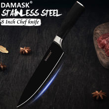 DAMASK Black Knife Stainless Steel Sharp Blade Kitchen Knive Pakka Wood Handle 8 inch Chef Knife Master Chef Recommendation Gift(China)