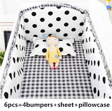 Promotion! 6PCS black dot Baby crib bedding set in cot bed set bedclothes Thick Fleece baby set (4bumper+sheet+pillow cover)Promotion! 6PCS black dot Baby crib bedding set in cot bed set bedclothes Thick Fleece baby set (4bumper+sheet+pillow cover)