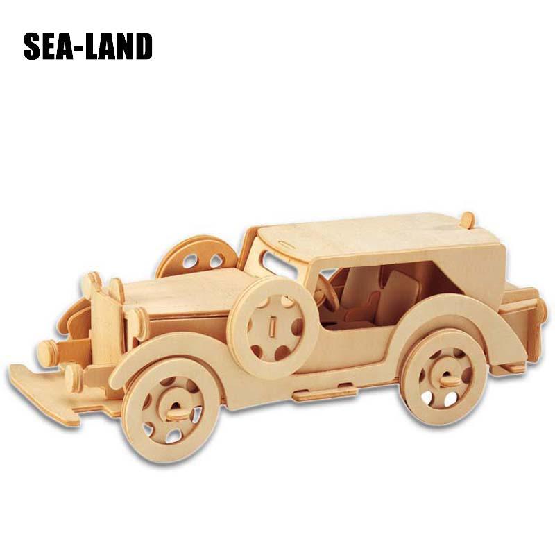 Djeca Igračke Drveni 3D Puzzle Za Djecu Beat-up Car Montessori - Igre i zagonetke - Foto 3