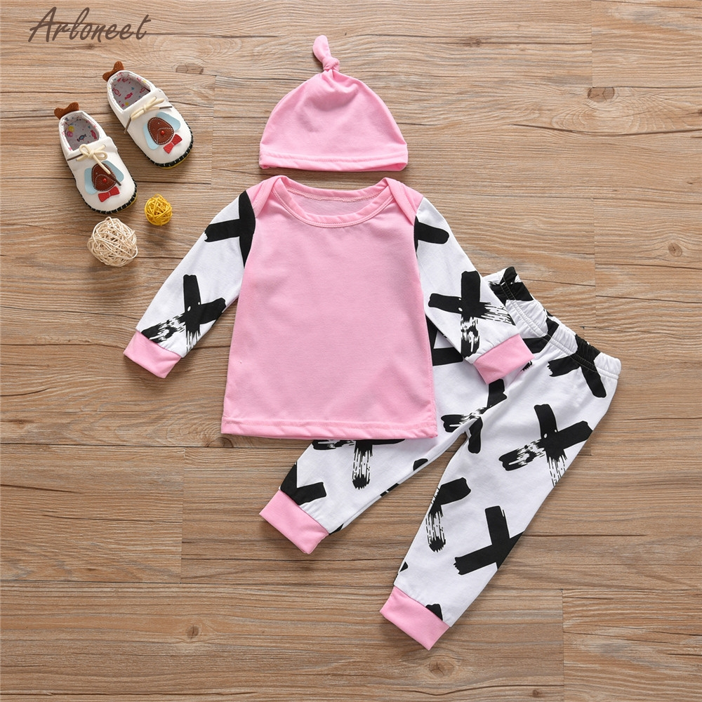 TELOTUNY Baby Girl Clothes Newborn Infant Baby Patchwork Geometric Tops Pants Headband Set Outfits Clothes Y121930