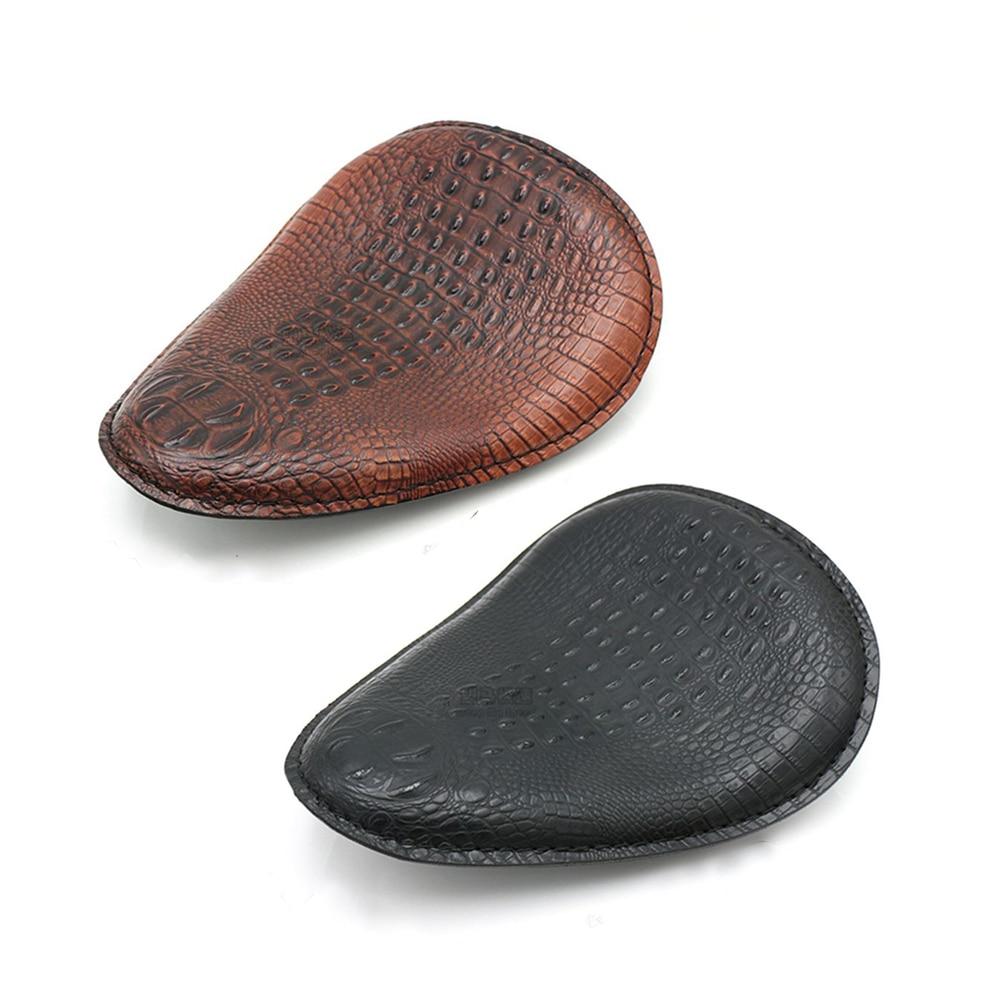 Motorcycle Retro Brown/Black Crocodile Leather Solo Seat+3 Spring Bracket For Harley Custom Chopper Bobber Leather Saddle Seat