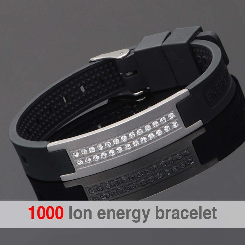 2019 Sports Jewelry 4 IN 1 Mens Fashion Silicone Energy Sports Bracelet 1000 Ion Releasing Stainless Steel BangleBike Chain
