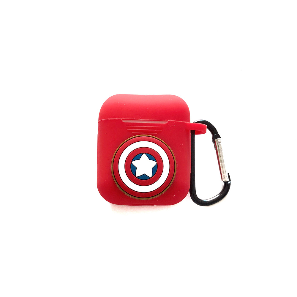 Marvel Avengers Cartoon Silicone Keychain Headphone Earphone Case For Apple Airpods Accessories cover box in Key Chains from Jewelry Accessories