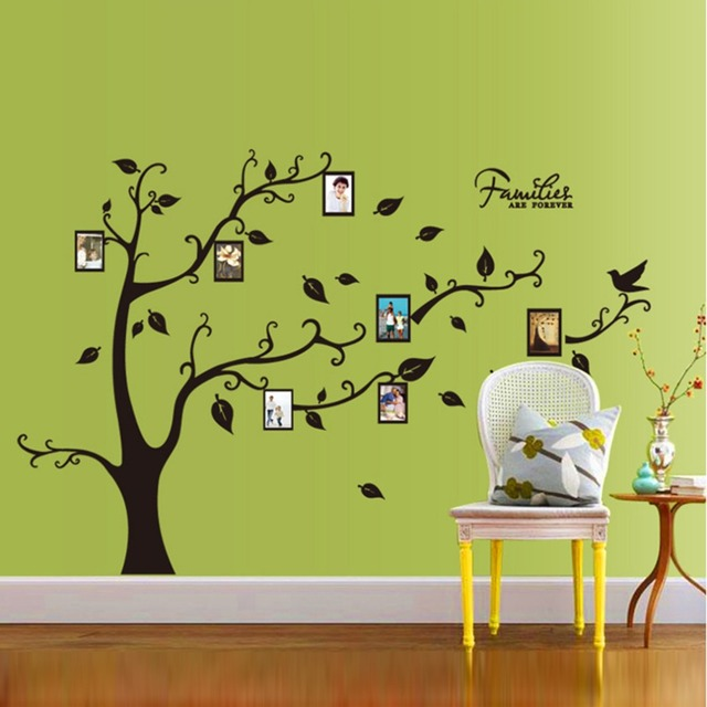 f4429cbb65a Creative Family Photo Tree Wall Stickers For Bedroom Living Room Mural PVC  Bird Leaves Wall Decals Art Wallpaper Home Decor