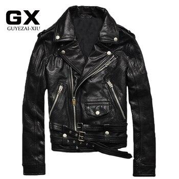 New Men Motorcycle Leather Jackets Black Genuine Vegetable tanning Sheepskin Lapel Oblique zipper Short Bomber Jacket мужские кожанные куртки с косой молнией