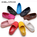 Cielarko Size 21-25 Kids Boys Girls Leather Single Loafers Soft Child Sneakers Children Fashion Moccasins Casual Boat Shoes 333