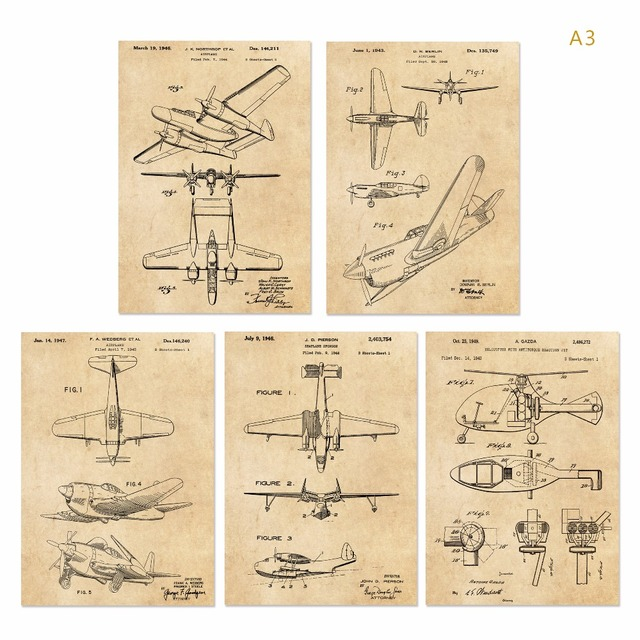 Vintage Patent Art G2 World War Ii Airplane Poster Sets 5 In 1