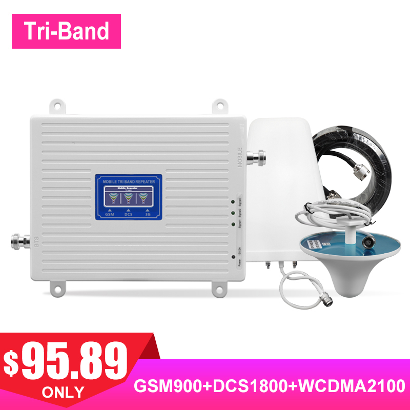 TriBand 2G 3G 4G GSM DCS WCDMA Cellular Signal Booster LTE FDD UMTS 900 1800 2100 Payload Network Signal Amplifier Antenna Kit #