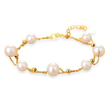 Elegant 5.5-6-7mm Freshwater Pearl Chain Bracelet 18K Gold Jewelry For Women Party Gift Wholesale Bracelets & Bangles Lady