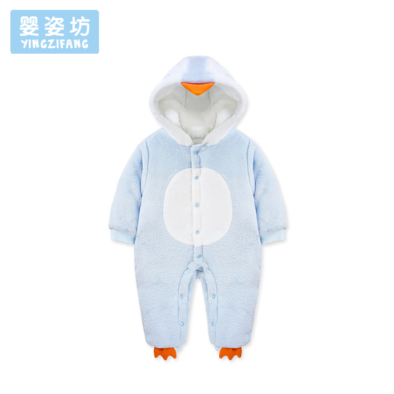 Infantil Cute Penguin Hooded Baby Rompers For Soft Boys Girls Clothes Newborn Clothing Winter Jumpsuit Infant Costume Outfit