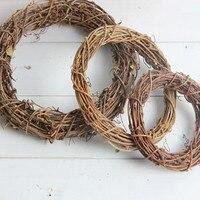 Ślub i przyjęcie Materiał Naturalny Rattan Koło Stem Oddział Pierścień garland Amerykański retro wieś dekoracje Świąteczne