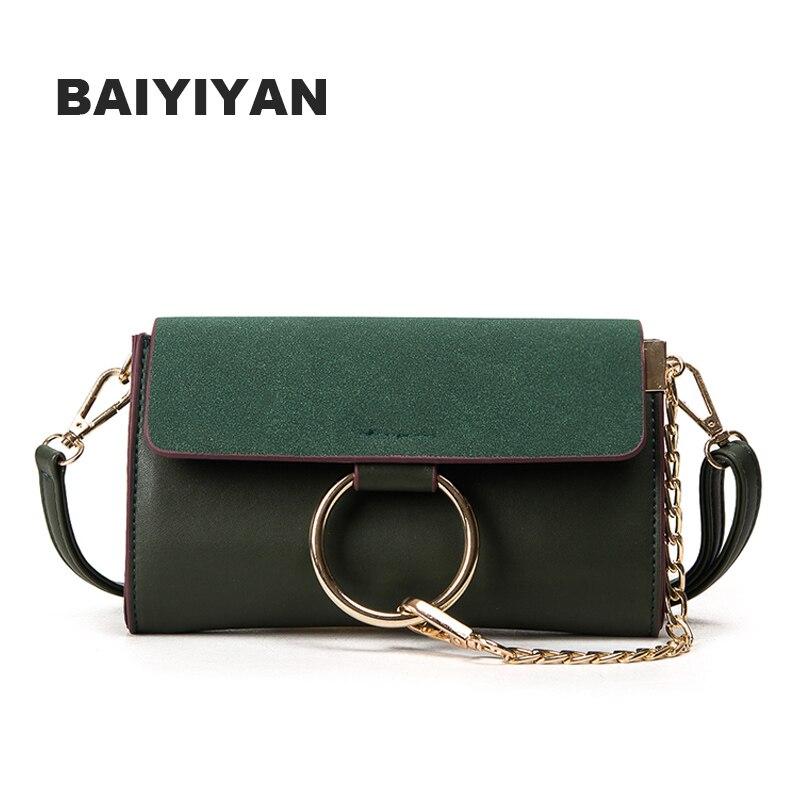 New Women's Hasp Messenger Bag Crossbody Bag Metal Chains Shoulder Bag Small Package Delicate Ring Envelope Bag