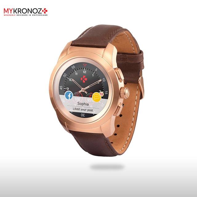 Смарт часы MyKronoz гибридные ZeTime Premium Regular цвет матовое розовое золото, кожаный ремешок цвет коричневый винтаж