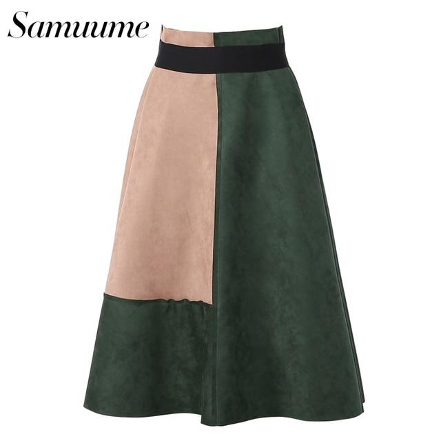 0929f99b59f Samuume Fashion Contrast Color Suede Elastic High Waist Geometry Print Warm Skirts  Women 2017 Pleated Midi Skirt Saias A1611059