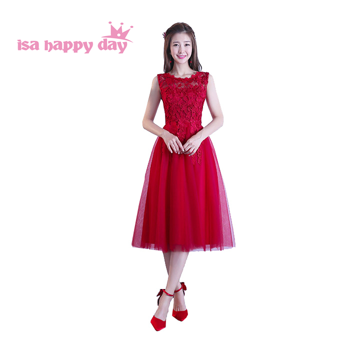 Cheap Pageant Short Elegant Korean Formal Princess Burgundy Bridesmaids Wine Red Bridesmaid Dresses Women 2019 Ball Gown